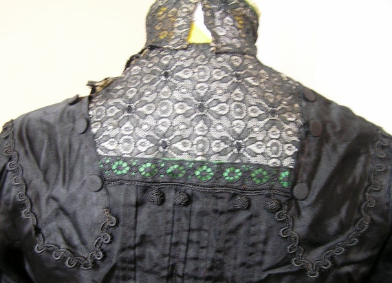 Authentic Antique Victorian Blouse in Black, Circa