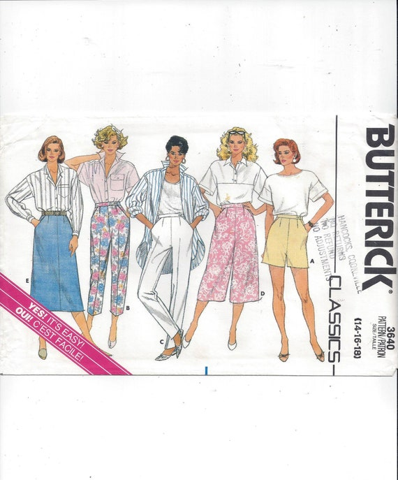 2b93ace83 Butterick 3640 Pattern for Misses  Skirt Culottes Pants