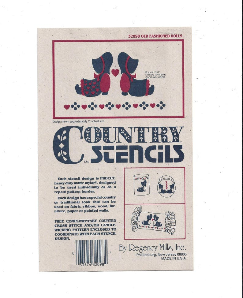 1990s Country Precut Stencils for Old Fashioned Dolls with Hearts & Polka  Dots, Vintage Home Decor, Regency Mills