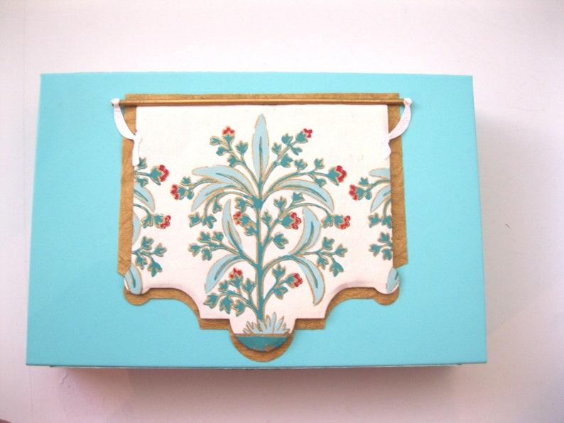 Custom box 8 x 5.25 x 1.5 Ornate light blue floral magnet close Sturdy fancy presentation white jewelry box exclusive design hand decorated