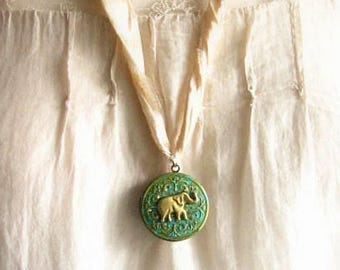 Elephant locket in green on silk ribbon christmas gift for her xmas romantic rustic