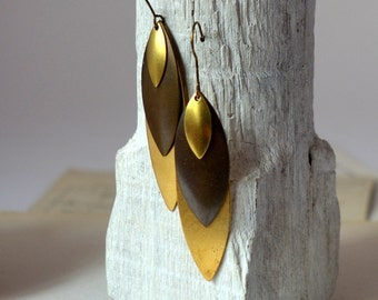 Long petals earrings in gold and blackretro earrings vintage inspired bronze christmas gift for her