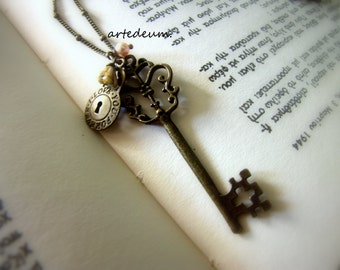 Key and lock necklace love you forever message inscribed antique bronze vintage inspired xmas gift for her christmas antique