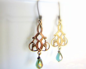 Chandelier earrings ornate with blue teardrop crystals vintage inspired bronze christmas gift for her