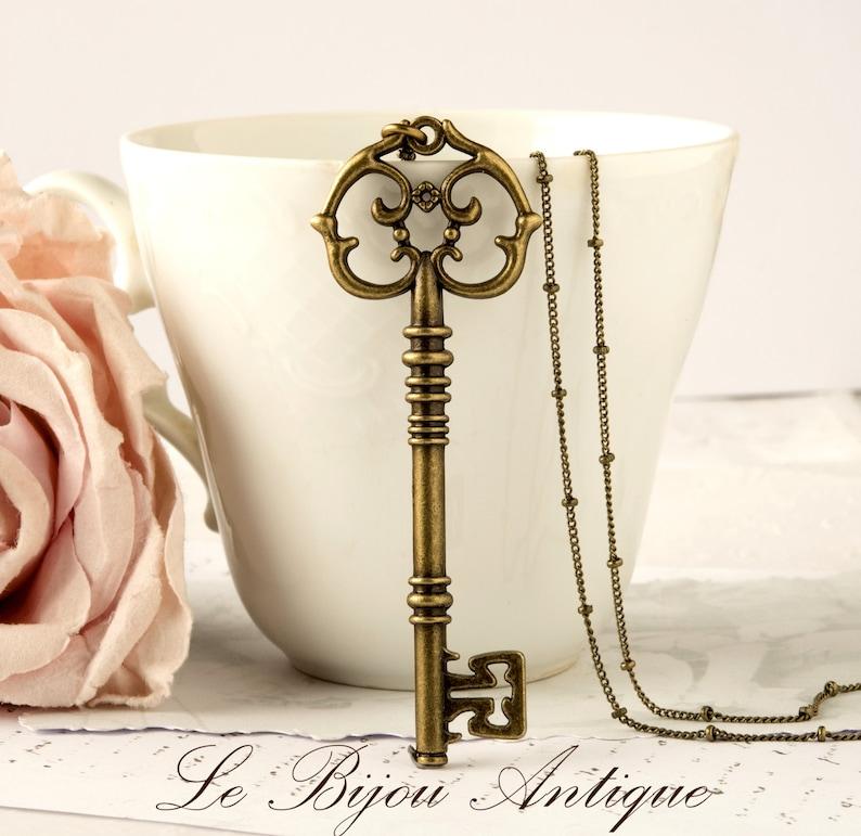 Skeleton Key necklace antique bronze key necklace with long image 0