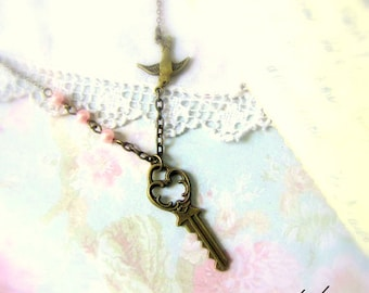 Small skeleton key necklace in antique bronze with pearls and swallow christmas gift for her short choker