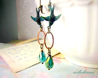 Blue Swallows earrings with blue teardrop crystals vintage inspired bronze christmas gift for her