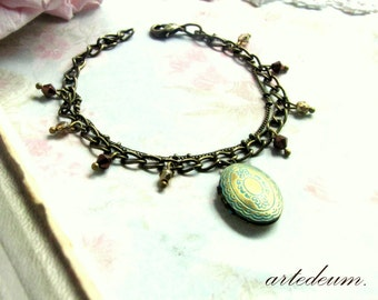 Locket bracelet in bronze blue and gold adjustable christmas gift for her xmas romantic