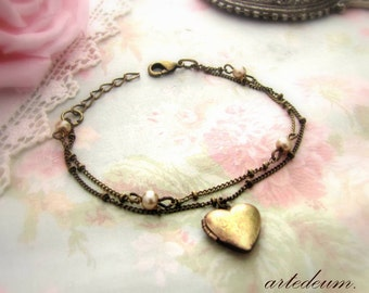 Heart bracelet in antique bronze with tiny openable heart charm adjustable christmas gift for her xmas romantic