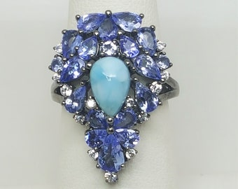 4.50ct Pear Shaped Tanzanite and 9x6mm Larimar Black Rhodium over Sterling Silver Ring