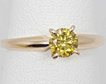 1/2 ct Yellow Diamond 14kt Yellow Gold Solitaire Ring Size 6