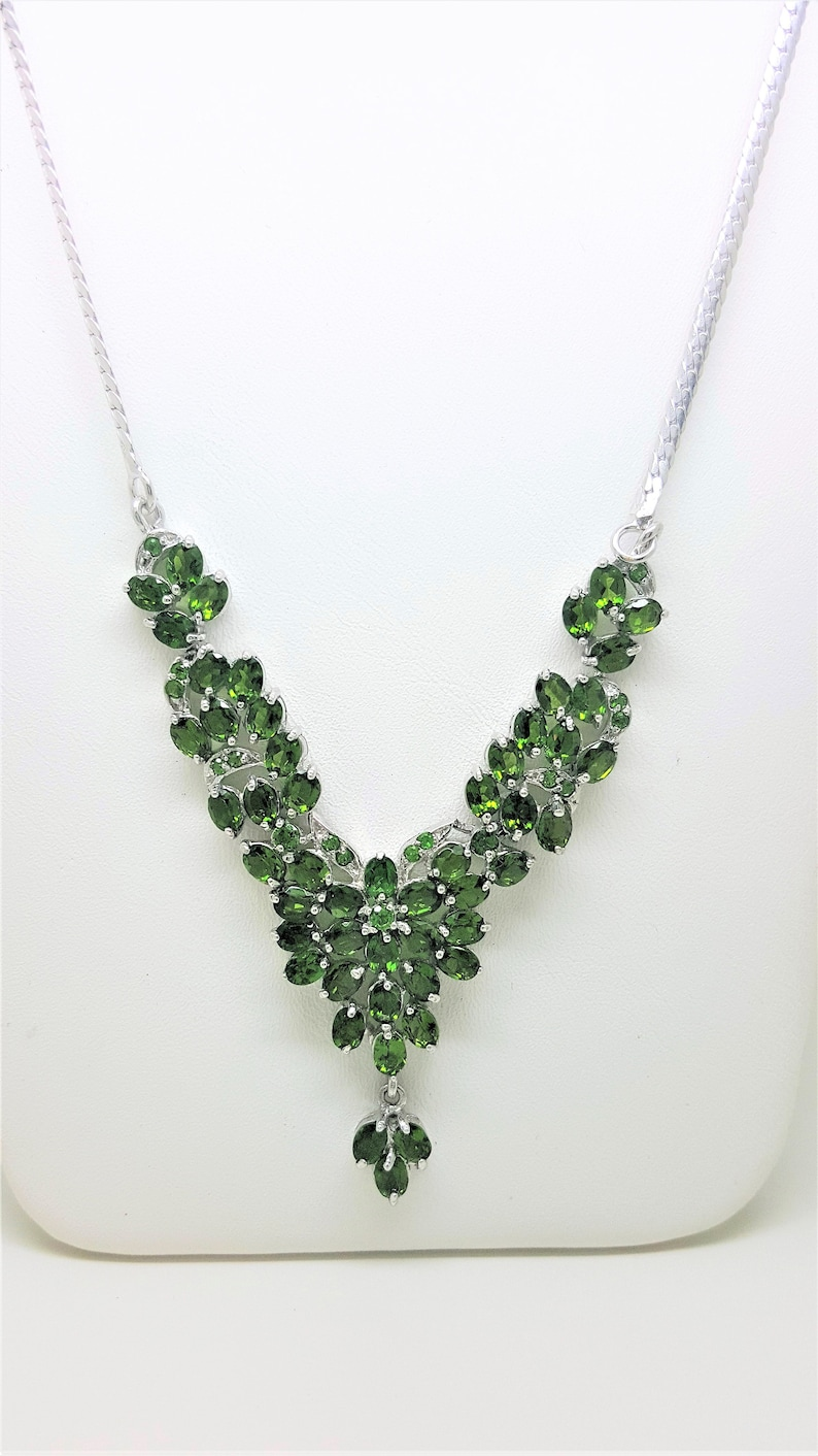 11.15ctw Russian Chrome Diopside 925 Sterling Silver Necklace 17 inch