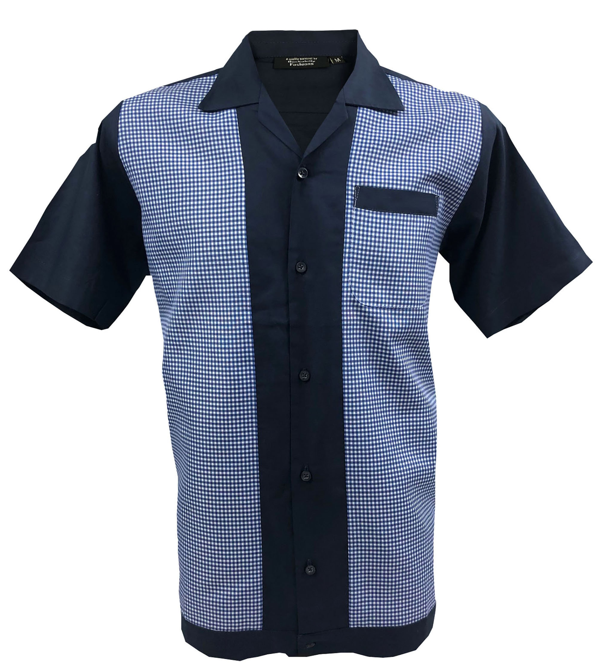 Retro Navy Blue with White Panels 1950s1960s Rockabilly Bowling Vintage Men/'s shirt