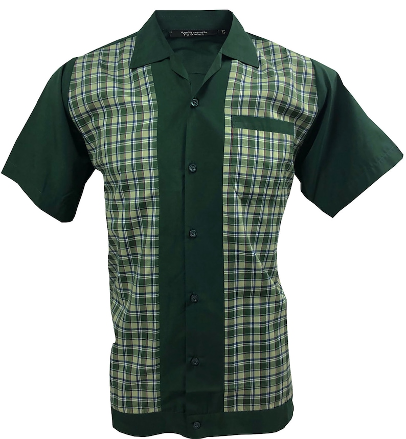 Mens Vintage Shirts – Casual, Dress, T-shirts, Polos Mens shirt 1950s 1960s Rockabilly Modern Retro Bowling Vintage style Short sleeve Cotton Dark Green with Checked front panels $41.80 AT vintagedancer.com