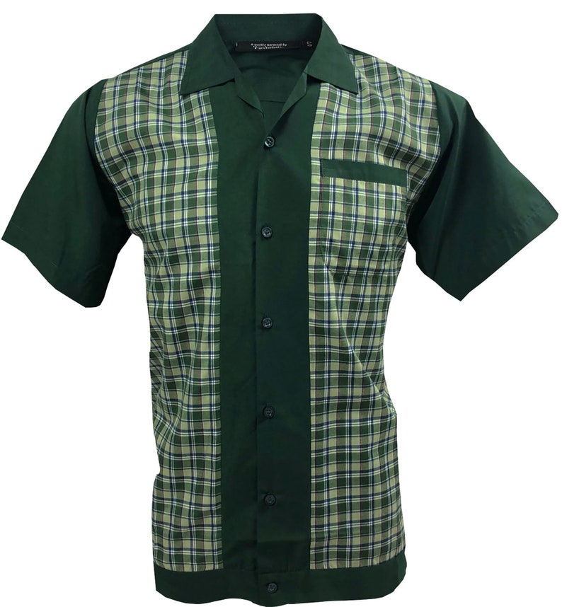 1950s Men's Clothing Mens shirt 1950s 1960s Rockabilly Modern Retro Bowling Vintage style Short sleeve Cotton Dark Green with Checked front panels $41.80 AT vintagedancer.com
