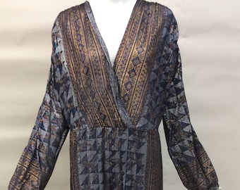 Hold. Vintage 1970s Hippie Boho Made In India Jumper Jumpsuit Handpainted Silver Gold Indian Cotton Metallic Threads