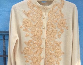50's Cream Cashmere Cardigan