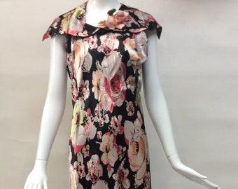 Glamorous 1930s Floral Print BIAS cut slinky Rayon GOWN Dress Sleeveless oversized collar on black ground