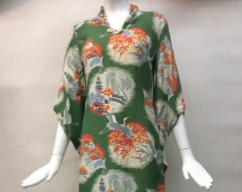 Joyful vintage 40s atq RARE Hawaiian Muu Muu Dress Gown Tunic Aloha Shirt Deer Crane Tree Pagoda Motif Lauhala for LiBerty House Honolulu