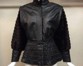 vintage chic 1940s does 1980s Alaska MINK and LEATHER Ka Luk Fur Company Jacket Coat Great DETAILING