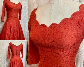 Lace off the shoulder fit flare 1950s  red dress