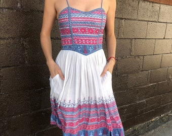 Vintage PHOOL quilted Indian cotton summer dress