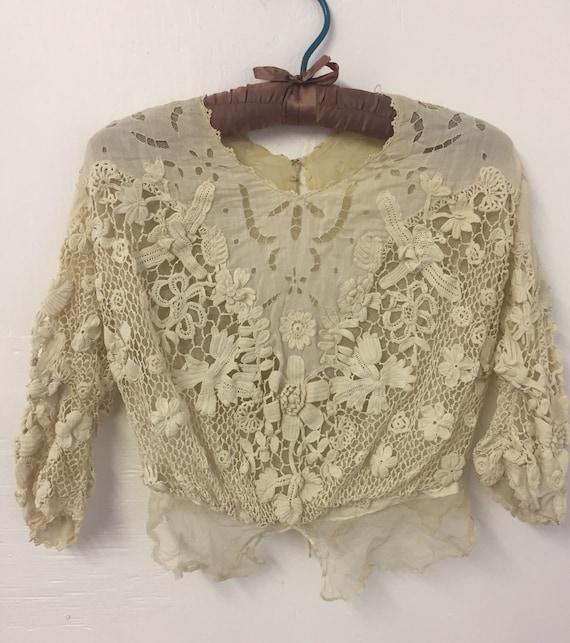 Edwardian Irish Crochet Open-Work Cotton Voile Blo