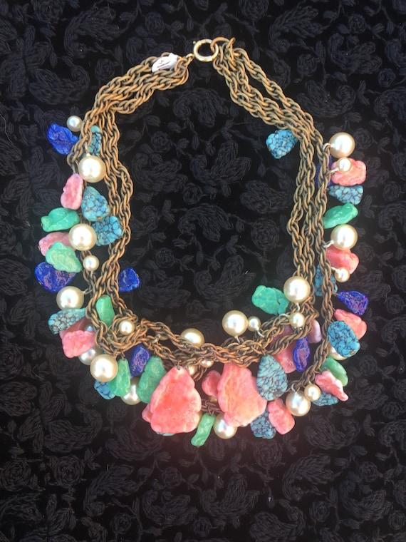 50s Multi-Stone Triple-Chain Necklace