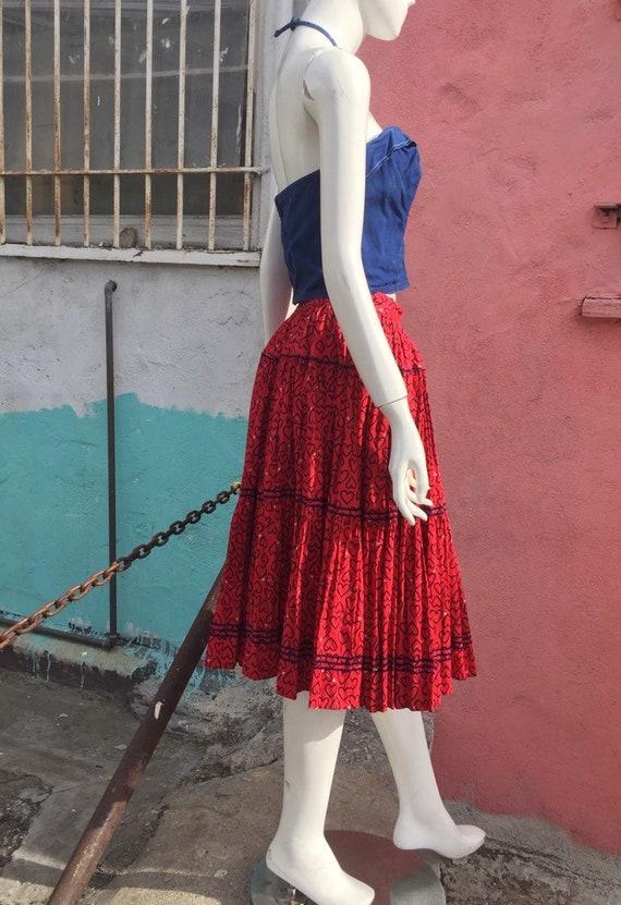 50's Novelty Heart Print Circle Skirt - image 4
