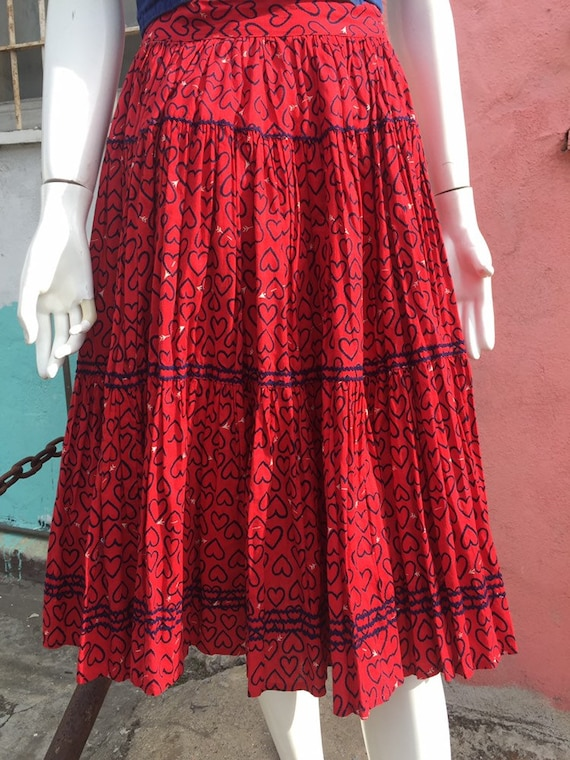 50's Novelty Heart Print Circle Skirt
