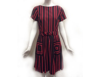 Vintage 50s Black Red Striped Cotton Short Sleeve Fit n Flare Midi Length Day Dress with Matching Belt