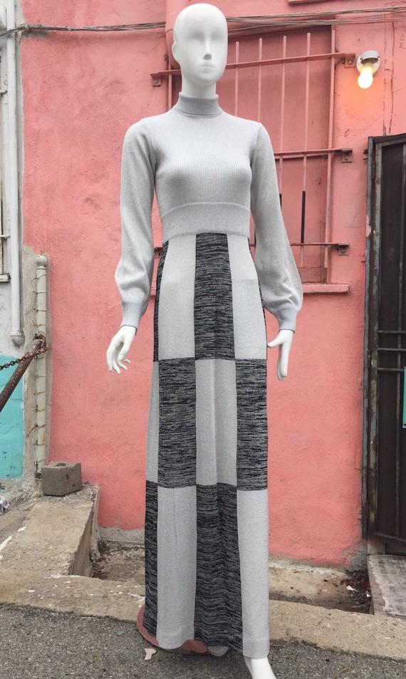 70s Metallic Knit Maxi Dress by Wenjilli