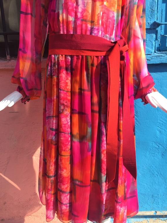 70's Pauline Trigére Vibrant Print Silk Dress - image 7