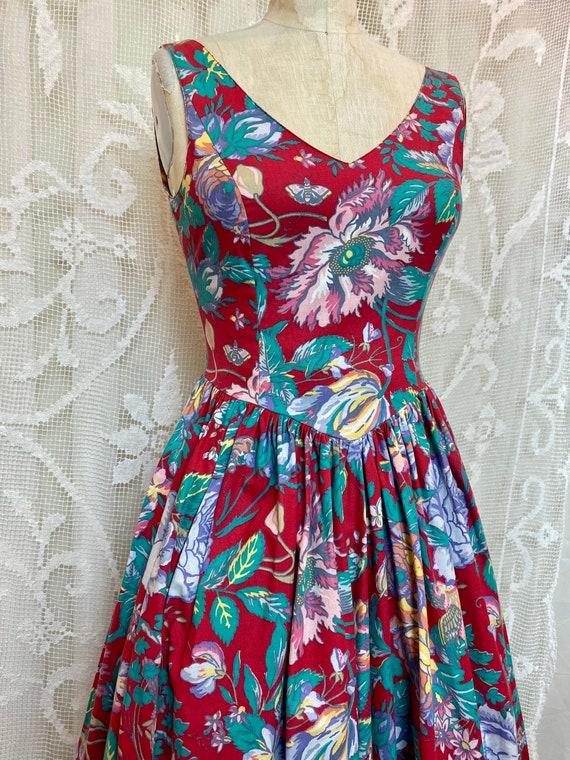 Laura Ashley sleeveless floral cotton dress 80/90s - image 5