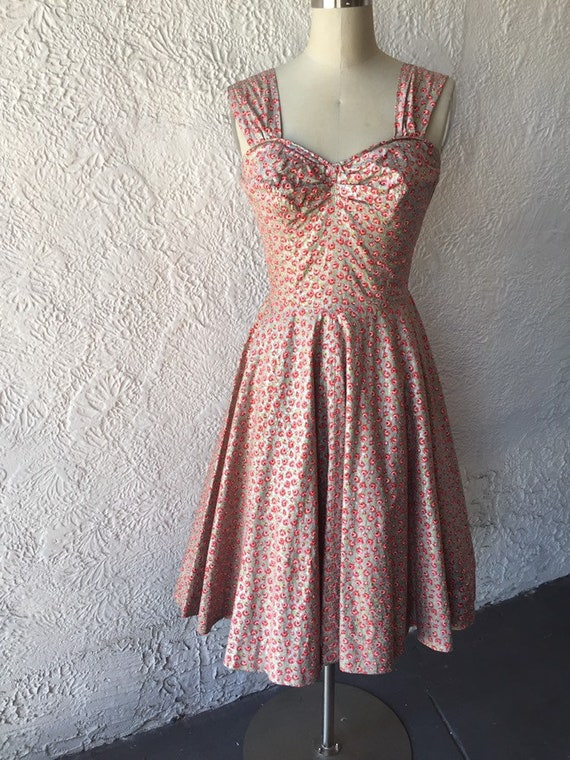 50's Silver Sundress with Calico Rose Print - image 2