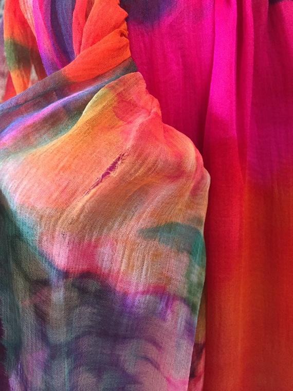70's Pauline Trigére Vibrant Print Silk Dress - image 9