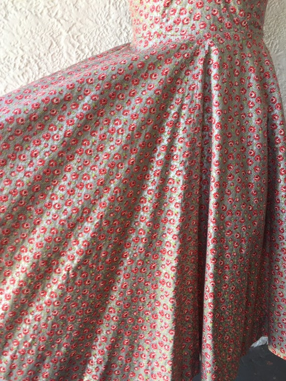 50's Silver Sundress with Calico Rose Print - image 4
