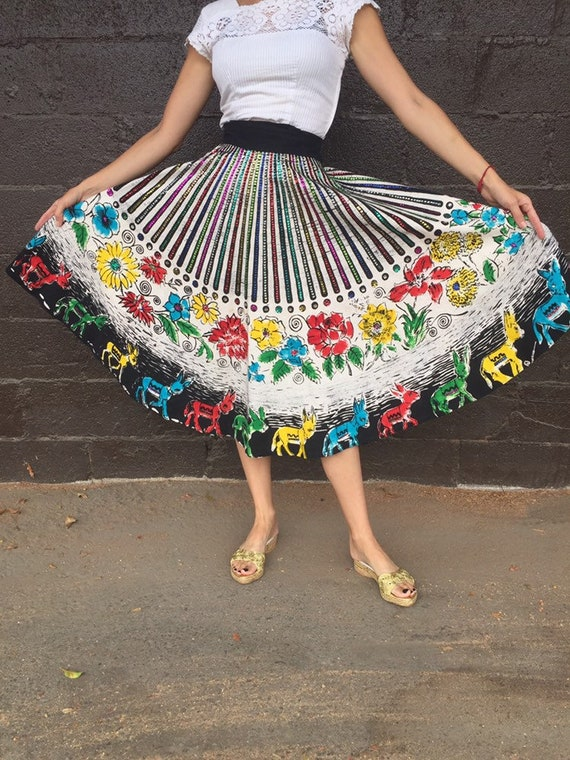 50's Painted & Sequined Mexican Circle Skirt with