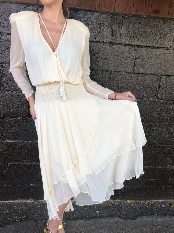 80's Diane Freís Cream Silk Chiffon Dress