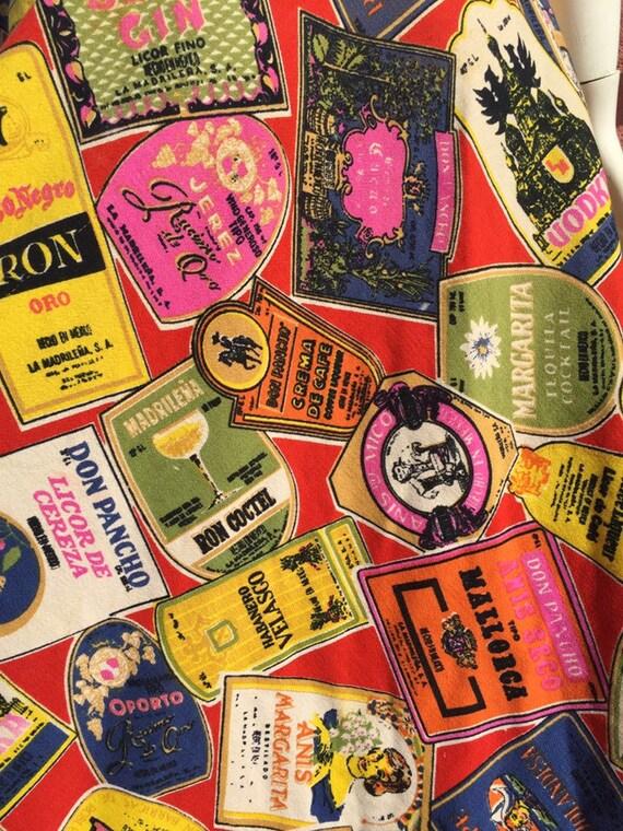 50's Style Liquor Label Novelty Print Skirt - image 9