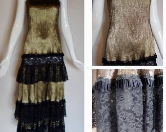 vintage Koos Van Den Akker COUTURE gold LAME tiered LACe FLaPPer DRESS Gown