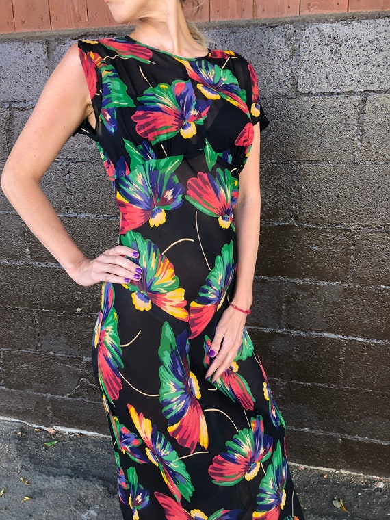 Betsey Johnson 90's does 30's Floral Chiffon Gown