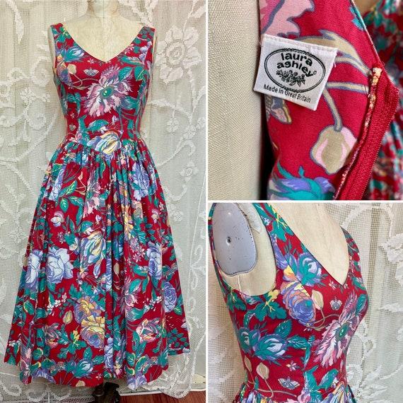 Laura Ashley sleeveless floral cotton dress 80/90s - image 1