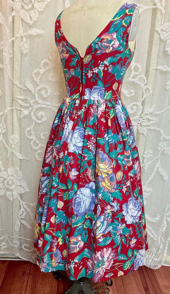 Laura Ashley sleeveless floral cotton dress 80/90s - image 4