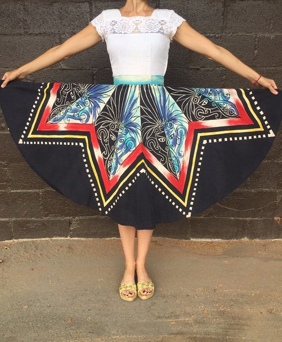 50's Hand-Painted Mayan Mask Circle Skirt