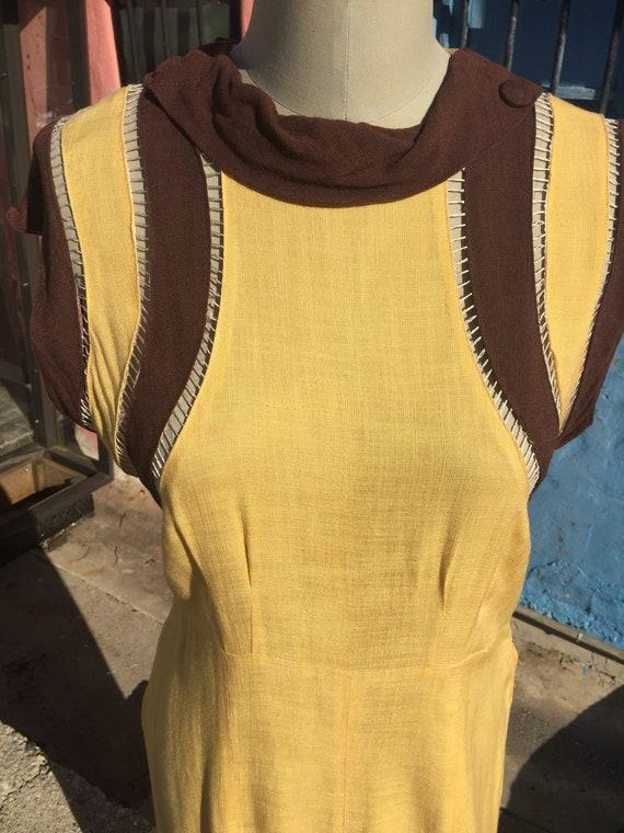 Sweet 30's Yellow Linen Day Dress
