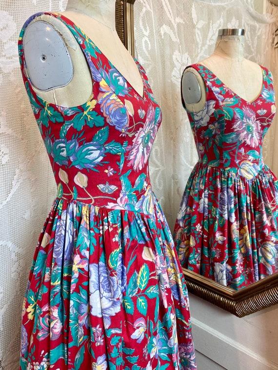 Laura Ashley sleeveless floral cotton dress 80/90s - image 7