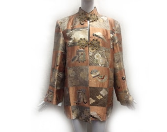 Vintage 40s Peach and Gray Checkerboard Asian Pattern Silk Unisex Formal Kimono Fabric Jacket with Nehru Collar made in Japan