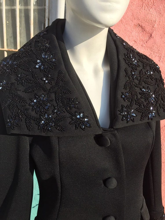 60's Lilli Ann Jacket with Dramatic Beaded Collar