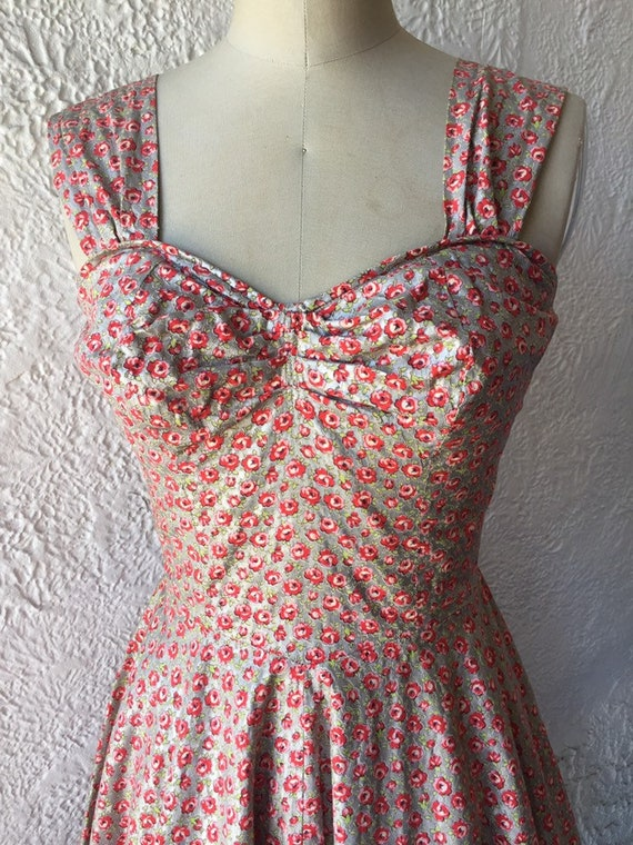 50's Silver Sundress with Calico Rose Print